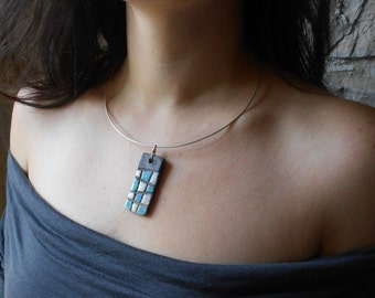 silver necklace with raku pottery