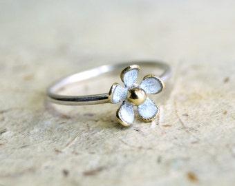 TINY DAISY WHITE ring , stacking ring , patina ring , flower ring , bridesmaid ring , contemporary stacking ring