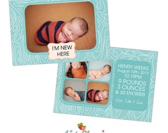 INSTANT DOWNLOAD 5x7 Birth Announcement Card Template - CA258