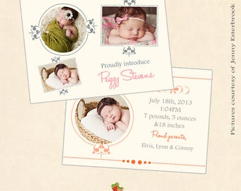 INSTANT DOWNLOAD 5x7 Birth announcement card template - CA192