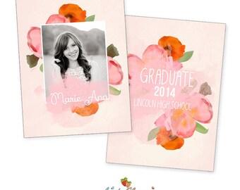 INSTANT DOWNLOAD 5x7 Graduation Announcement Card Template - CA479