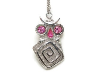 Vintage Silver Owl Necklace - Funky Owl with Pink Rhinestone Eyes - Silver Tone Chain
