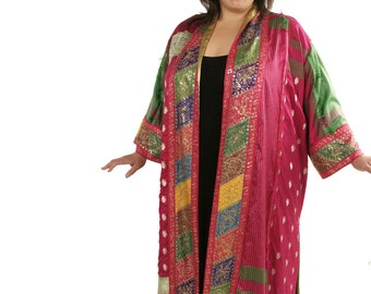 Peggy Lutz Plus Size Calf Length Kimono Jacket Fuschia Gold Multi Vintage Sari Silk Wearable Art Size 26/28
