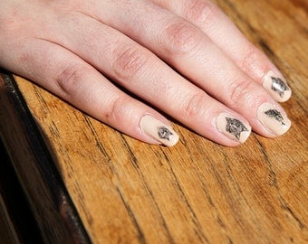 Wolf Nail Tattoo Set // Nail Transfers // Nail Decals