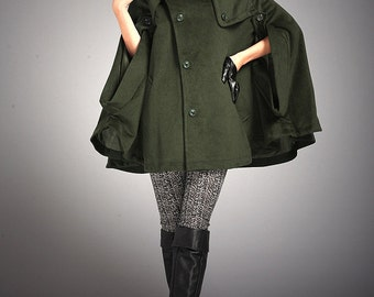 Army Green Outwear Wool Coat Sleeveless Cashmere Cape Coat Cloak Coat-WH036 M-L