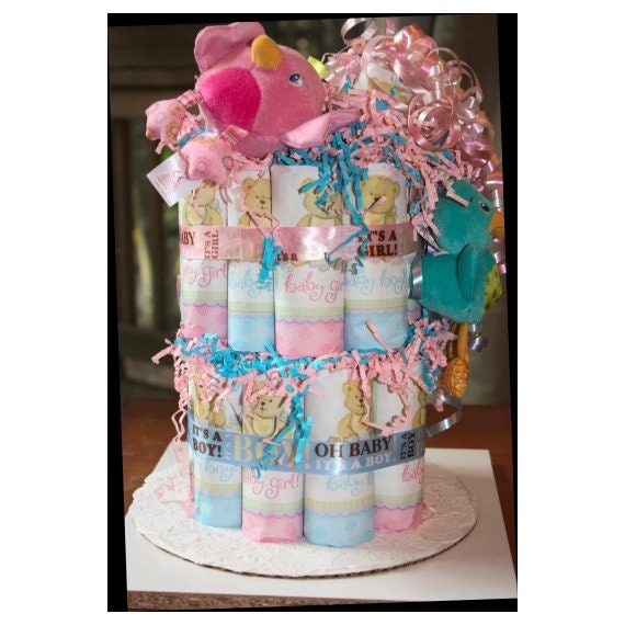 Boy Girl Twins Diaper Cake - Pink and Blue