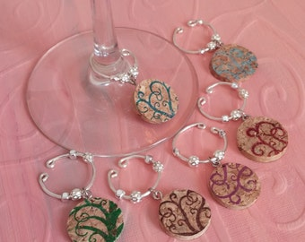 Cork Wine Charms - stamped with artistic tree branches if various colors