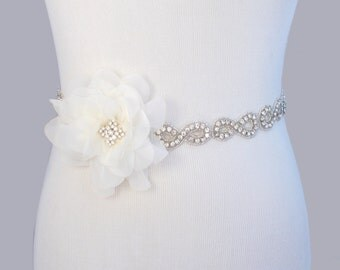Infinity Symbol Wedding Sash, Flower Wedding Belt, Rhinestone Bridal Sash, Crystal Bridal Belt, Beaded Jeweled Satin Ribbon Gown Sash