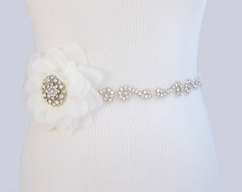 Flower Bridal Belt, Crystal Rhinestone Wedding Dress Sash, Jeweled Wedding Gown Sash, 35 Satin Color Options / Ivory Sash / Black Sash