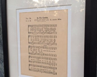In the Garden And He Walks With Me Hymn Sheet Music Art on Canvas Board