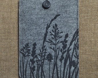 iPad mini / Kindle sleeve - case - cover with Grass Pattern, Silkscreen Printed Felt