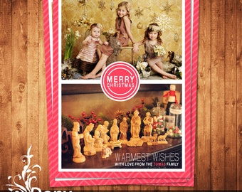 Christmas Card Template, Happy New Year Card, Holiday Card Photocard Photoshop Template Instant Download - BUY 1 GET 1 FREE: cardcode-141