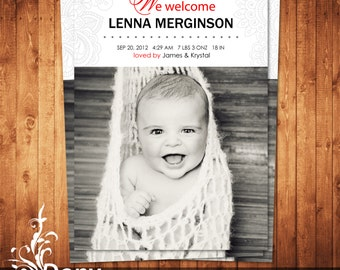 BUY 1 GET 1 FREE Birth Announcement - Neutral Baby Announcement Card - Photoshop Template Instant Download: cardcode-183
