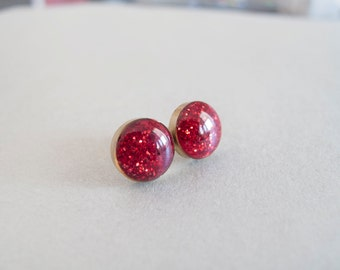 Sparkly Red Round Stud Earrings - Hypoallergenic Surgical Steel Posts