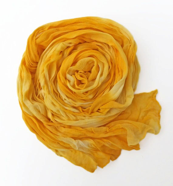 "Yellow chiffon crinkle scarf - silk chiffon scarf - large scarf - sunny golden yellow - freesia - hand dyed -  large - 17"" x 74"""