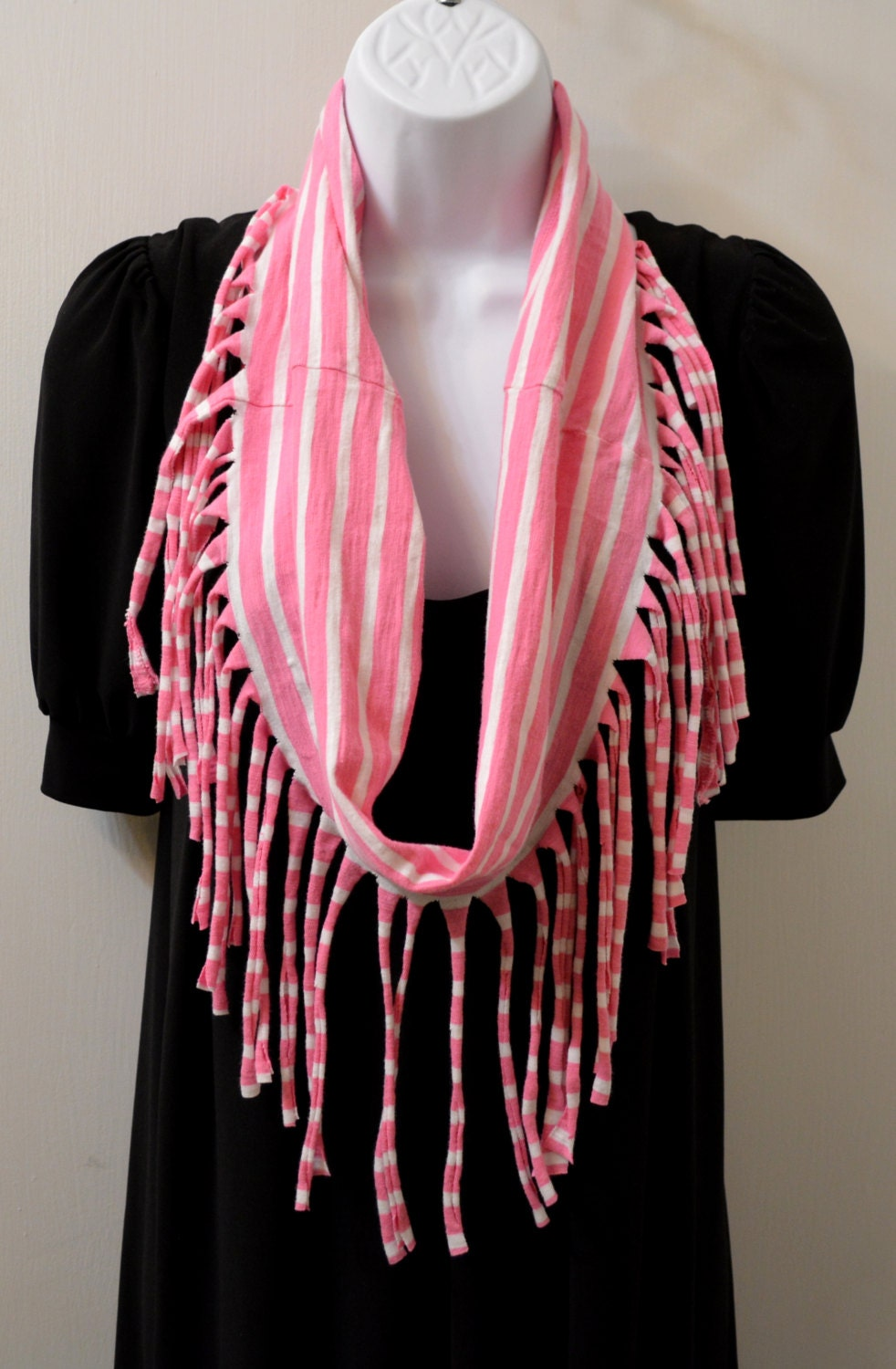 Infinity Fringe T Shirt Scarf Pink And White Stripes
