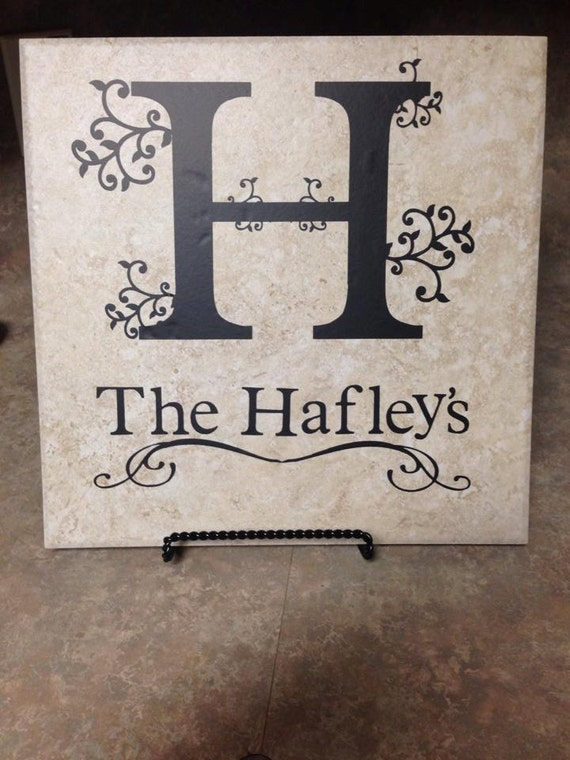 12x12 Monogram Tile Home Decor Great Gift For By Simplybydee