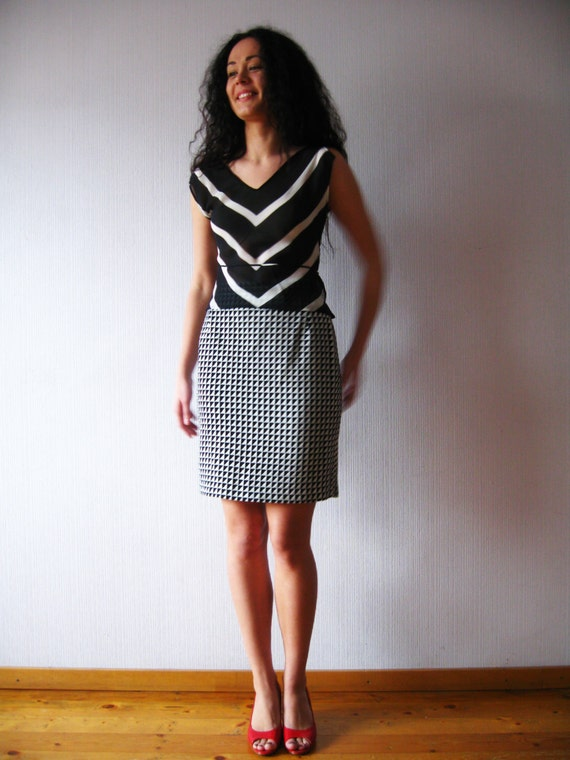 Black White Pencil Skirt Black and White Plaid Wool Blend Mini