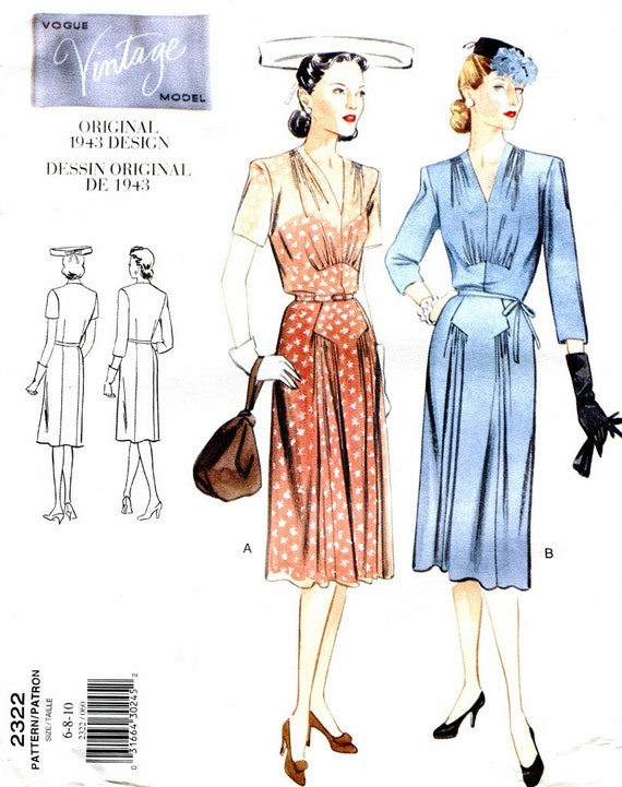 Vogue Vintage Design Sewing Pattern Reproduction Of A 1943