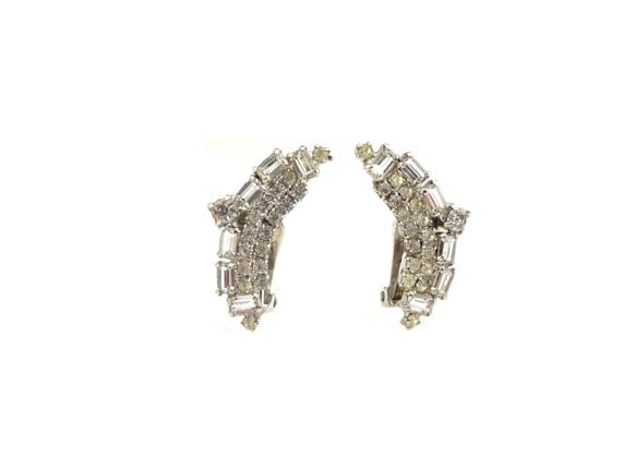 Art deco rhinestone clip on earrings costume by jellevintage for Art deco costume jewelry
