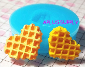 QYL003 Heart Waffle Silicone Mold Miniature Food Sweets Cupcake Jewelry Charms Clay Fimo Resin Wax Fondant