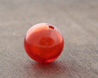 1 Handmade Glass Bauble - Red Glass Bauble - Jewelry Supply