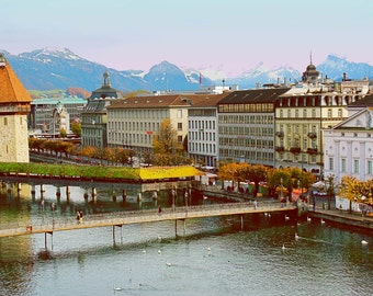 Lake Lucerne - Switzerland - Travel Photography - Luzerne - Fine Art Photography - Swiss Alps - Digital Photography - Fairytale - Village