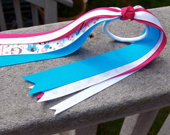 Pony O Streamer - Pink, Blue & White with ABC Ribbon Grade School Preschool Early Education Toddler Girl Young Girl