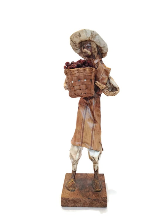Vintage paper mache man folk art peasant gifts for him