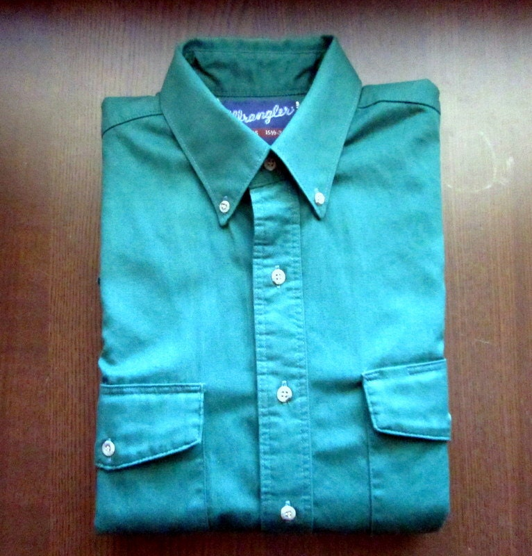 mens vintage wrangler teal button down shirt