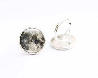 Moon Ring, Adjustable space Ring,  Photo Glass Ring  Picture ring, Art Jewellery,  moon jewelry,  full moon, Photo Jewelry,