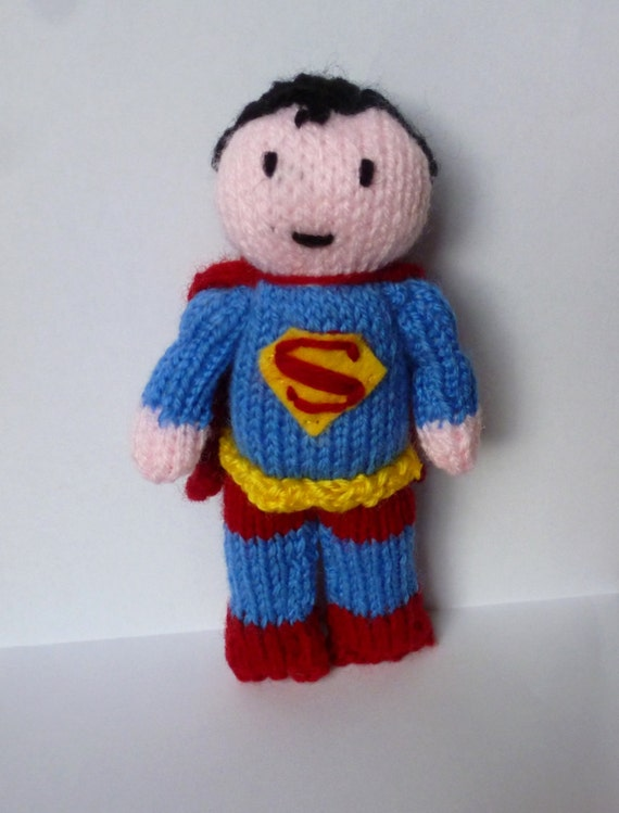 Knitting Pattern Superman Doll : Superman knitted doll