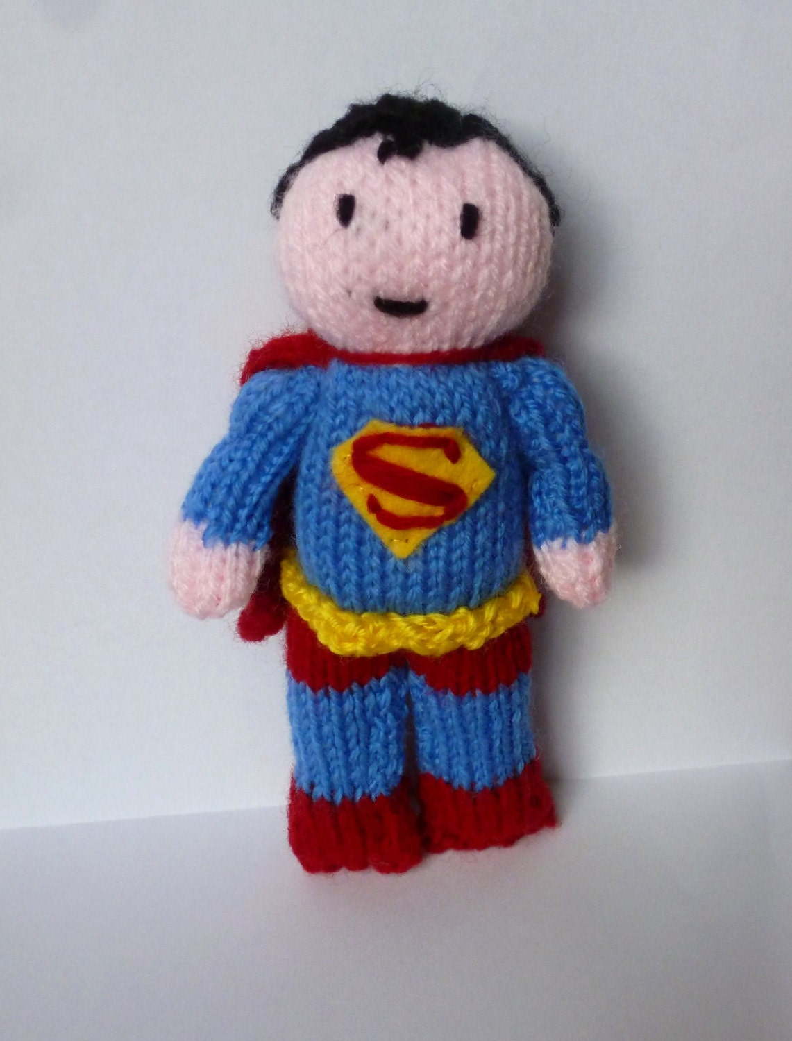 Superman knitted doll