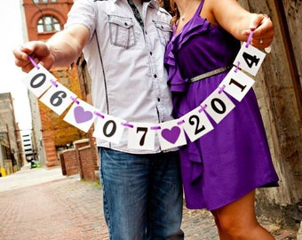mini Save the Date Banner / Wedding Garland / Wedding Date Banner / Save the Date Props / Engagement Cards / Photo Prop