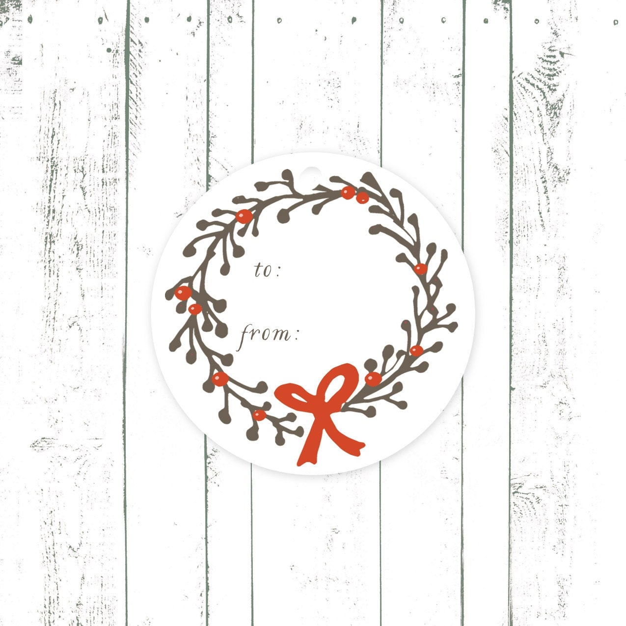 Holiday Gift Tags, Christmas Tags, Wreath Gift Tags with Bow