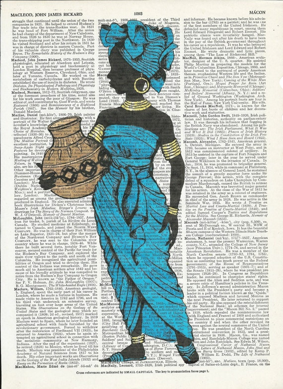 Vintage Illustration of  Beautiful African Woman on Dictionary Art Print onUpcycle Vintage Page Book Print Art Print Collage Print