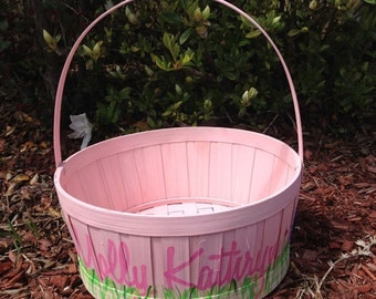 Classic Children's Hand Painted Easter Basket - Pink