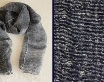 Handwoven Light Linen Scarf. Summery Linen Scarf. Navy Blue and White Linen Scarf.