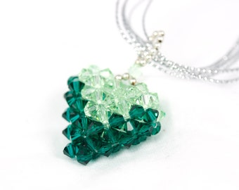 Two-Toned Green Woven Swarovski Heart Pendant, Dark and Light Green with chain, Mother's Day gift