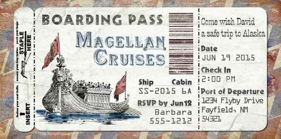 Cruise Ship Boarding Pass Invitation For Wedding Birthday