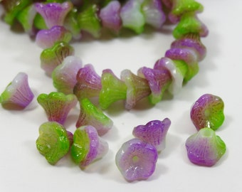 Czech Glass Flower Cup Bead 7x5mm White Funky Orchid  25 Pieces