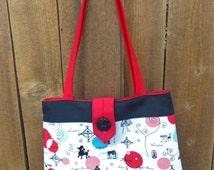 Shoulder bag, french purse, designer purse, ladies purse, red white black purse, Paris purse, handmade handbag, shoulder bag, women's purse