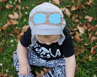 Toddler's Aviator Hat, Boys Aviator Hat, Cotton Earflap Hat, Gray