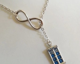 Doctor Who Inspired  Necklace , Blue Police Box,  Tardis,  Lariat Style