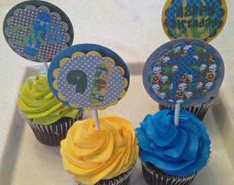 Skateboard Cupcake Toppers- set of 24