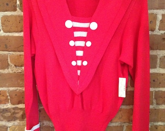 Vintage Nautical Red Sweater