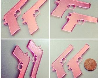 2x laser cut acrylic large gun cabochons (pink mirror)