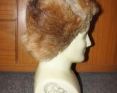 Gorgeous brown grey Vintage 1940's real fur and suede russian hat
