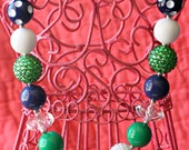 Navy and Kelly Green Chunky Bubblegum Necklace