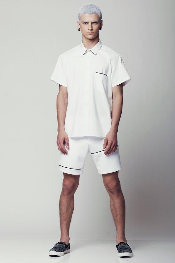 Mens Shirt Mens White Dress Shirt Short Sleeve Button Down